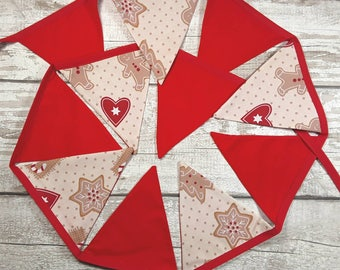 Gingerbread fabric Christmas bunting Ready to Post 11 flags alternate plain red