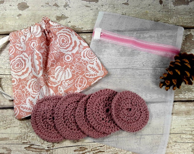 5 Reusable Cotton Crochet face pads storage bag & wash bag, Eco-friendly, Makeup removal, Scrubbies, Facial cleansing wipes Gift I