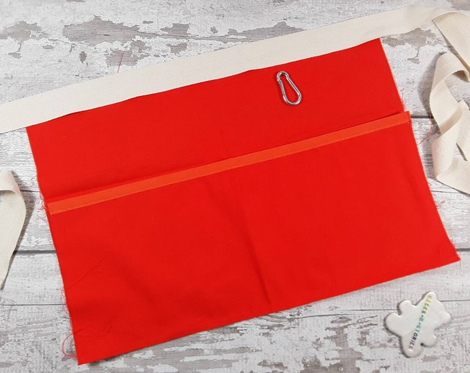 Plain Bright Orange Teacher Apron with 3 or 5 pockets suitable for Sanitiser Tissues Wipes Vendor apron Teacher Pocket apron