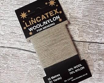 Darning Mending wool in Fawn 10 metres Very light Brown Ecofriendly Wool nylon mix