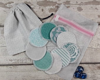 9 reusable face pads and storage bag & wash bag, Eco-friendly, Makeup Removal, Scrubbies, Facial cleansing wipes, Zero waste, Ethical gift H
