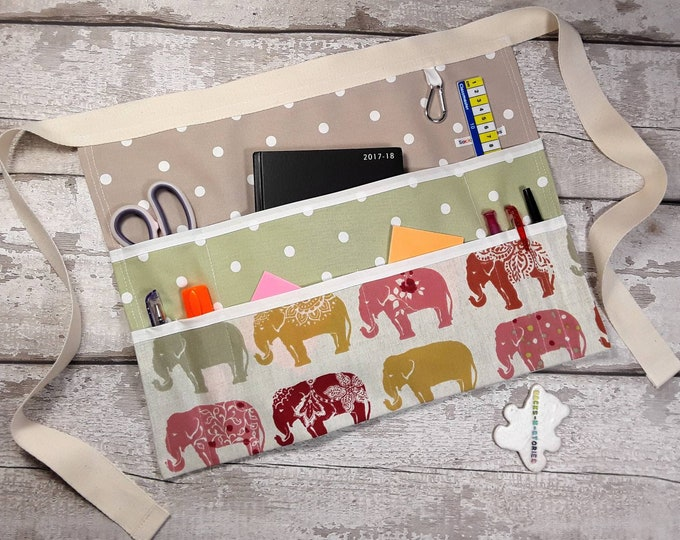 "Teachers Apron Custom Create your own ELEPHANT 9 pockets fits 10"" tablet Vendor apron Utility Belt Elephants"