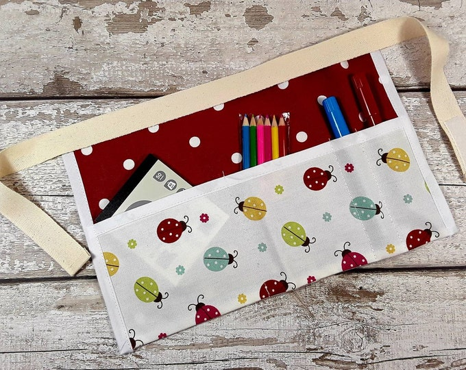 Childs mark making apron Ladybird Red Polka Dot Tool Belt, Pocket Apron, Role Play Teacher, Mark Making, BIRTHDAY Home Schooling
