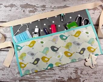 Teacher Apron Pocket Apron BIRDS 100% cotton Choice of Polka Dot, Vendor Apron, RWI Apron, Utility Belt Half Waist 3 or 5 pockets