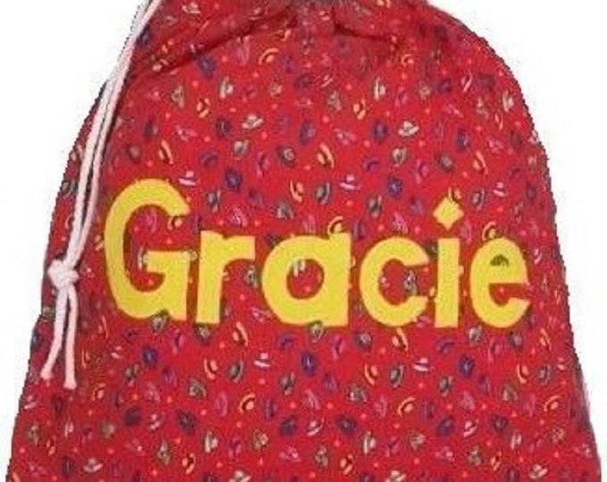 Hats on Red Personalised bag, Drawstring bag, Diaper bag, Nursery bag, Baby bag, Shoe bag, Pump Bag, Girls Birthday gift, Appliqued felt
