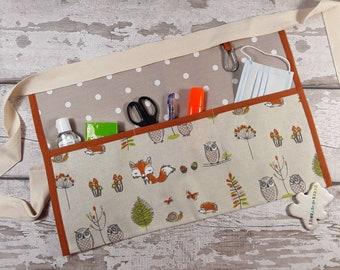 Waist Apron, Teacher apron, Woodland Friends, choice of polka dot, 5 or 3 pocket, Teacher gift, Vendor apron, Cafe apron, RWI Apron