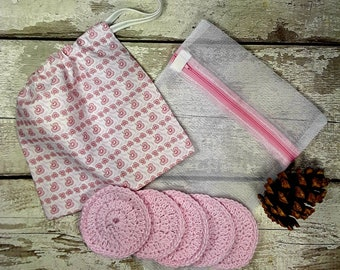 5 Reusable Cotton Crochet face pads storage bag & wash bag, Eco-friendly, Makeup removal, Scrubbies, Facial cleansing wipes, Gift E
