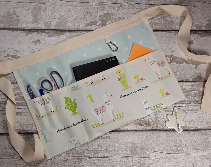 Teachers Apron Drama Llama with choice of polka dot with 3 or 5 pocket  Vendor apron Teacher Utility Belt Pocket apron
