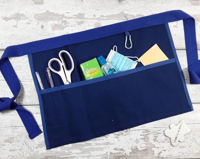 Plain Royal Blue Teacher Apron with 5 pockets suitable for Sanitiser Tissues Wipes Vendor apron Teacher Pocket apron
