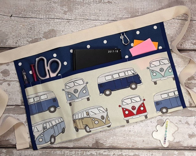 "Teacher Apron CAMPER VAN with Royal Blue polka dot 5 pocket 10"" tablet Vendor apron Teacher Utility Belt Pocket apron RWI Apron 3 pockets"