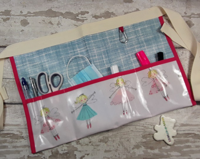 Teachers Apron Pocket Apron FAIRIES in pink Oilcloth PVC Vendor Apron, Garden Apron, Utility Belt Half Waist 5 or 3 pockets
