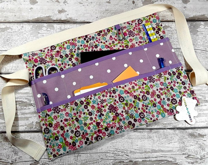 "Teacher Apron purple polka dot and floral 9 pockets fits 10"" tablet Vendor apron Teacher Utility Belt Teacher gift"