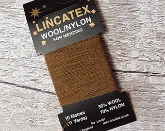 Darning Mending wool in Khaki 10 metres Green Brown Ecofriendly Wool nylon mix