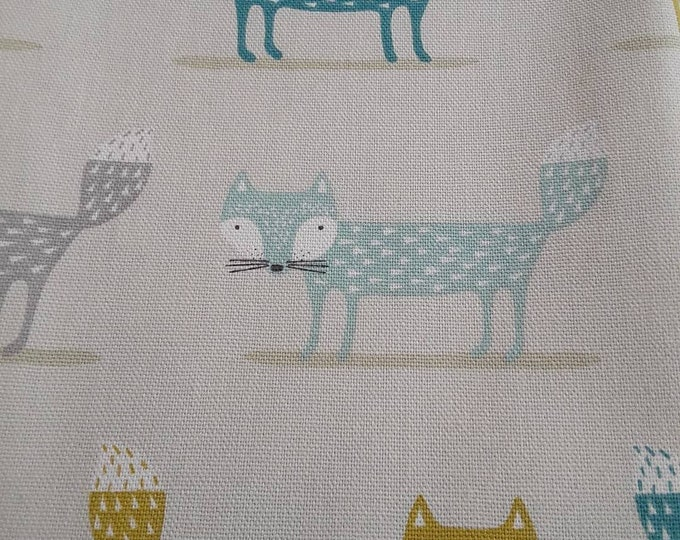Teacher Bag FOXES FOX in Teal with choice of contrasting fabric 3 or 6 pockets Crossbody Bag for PPE sanitiser mask classroom supplies