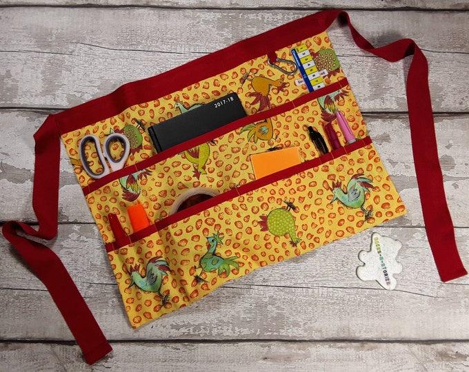 "READY 2 POST Teacher Gift Apron for Teacher Half Waist 9 pockets Funky Chicken Red Trim Fits 10"" Tablet Vendor Apron Teacher Utility Belt"