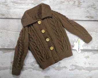 Handknitted 12-18 months Baby Aran Cardigan Jacket Jumper with collar and wood buttons in Brown Traditional Cable Knitwear Unisex