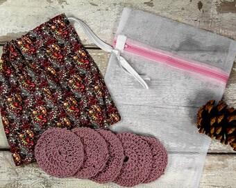 5 Reusable Cotton Crochet face pads storage bag & wash bag, Eco-friendly, Makeup remova,l Scrubbies, Facial cleansing wipes, Gift J
