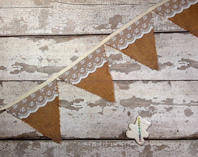 Wedding Bunting Burlap and lace overlay bunting Ready to Post 10 flags Handmade 1.8m Hessian and lace Wedding Bunting