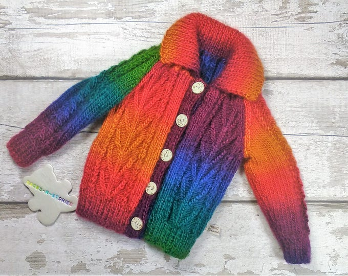 Handknitted Rainbow 6-9 months Aran Jacket Jumper Cardigan with collar coconut buttons Traditional Cable Knitwear Unisex