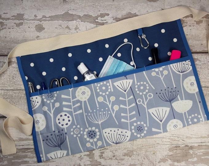 Teacher Apron, Flowered blue Choice of plain or polka dot Pocket apron, Waist apron, Cafe apron  Vendor apron, Teacher gift 3 or 5 pockets