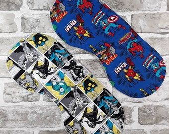 Superhero burp cloths pair Eco friendly, Organic, Cotton, Comic Book, Nerd Baby, Christmas baby, Alternative Parent Gift, Infant, Nursery C