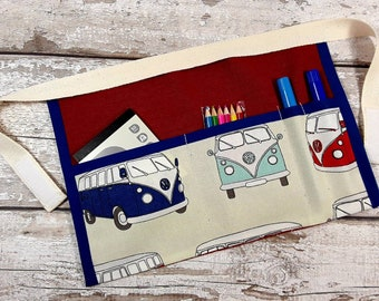 Childs Apron Red VW Camper Van belt, Dressing up, Pocket Apron, Role Play Teacher, Mark Making, BIRTHDAY GIFT Home Learning