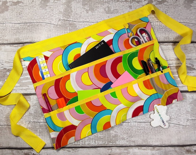 "Apron for Teacher Half Waist 9 pockets Rainbow Yellow Trim Fits 10"" Tablet Vendor Apron Teacher Utility Belt"