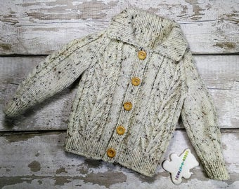 Handknitted Aran Jacket Jumper Cardigan 12-18 months with collar and wood buttons with Natural with Fleck  Traditional Cable Knitwear Unisex