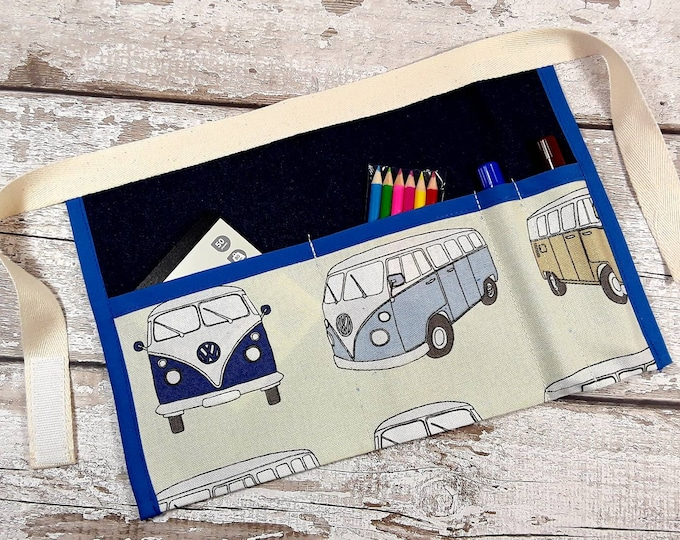 Childs Denim VW Camper Van belt, Utility Apron, Pocket Apron, Role Playing Teacher, Mark Making, BIRTHDAY GIFT Home Learning