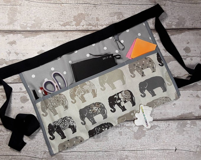 "Teacher Apron ELEPHANT and Grey Polka Dot with 5 pockets which fit 10"" tablet A5 notebook Vendor Apron or 3 large pockets for Read Write Inc"