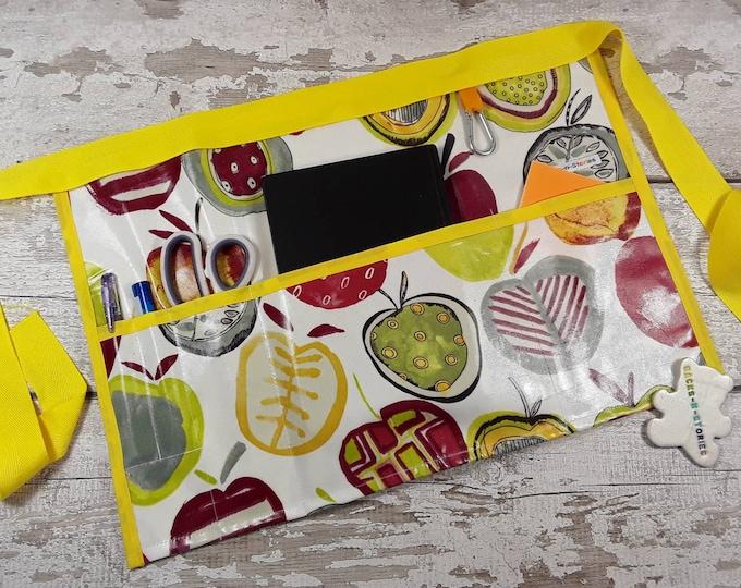 Teachers Apron, PVC APPLE Oil Cloth,  Vendor Apron, Garden Apron, Half Waist apron, 3 pockets, Garden apron, Outdoor apron, Wipeable apron