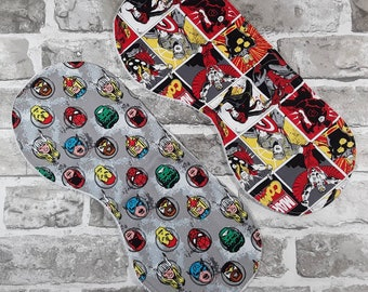 Superhero burp cloths pair Eco friendly, Organic, Cotton, Comic Book, Nerd Baby, Christmas baby, Alternative Parent Gift, Infant, Nursery B