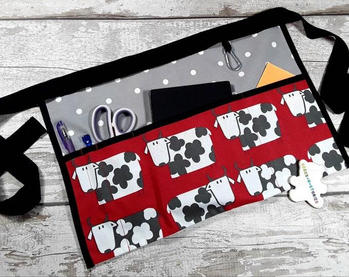 Teacher Apron Cows on Red and Grey Polka Dot 5 or 3 pocket apron suitable Sanitiser Tissues Wipes Teacher gift Apron Teacher Utility Belt