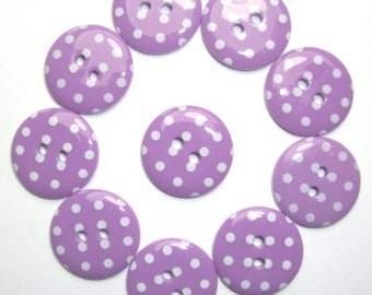 Buttons Purple Polka Dot Button x 10 pack of 10 ligne size 28 or 18mm 2 hole Two hole Plastic
