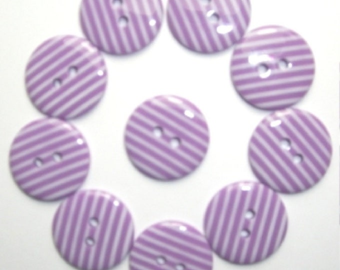 Purple with White Candy Stripe Buttons pack of 10 ligne size 28 or 18mm