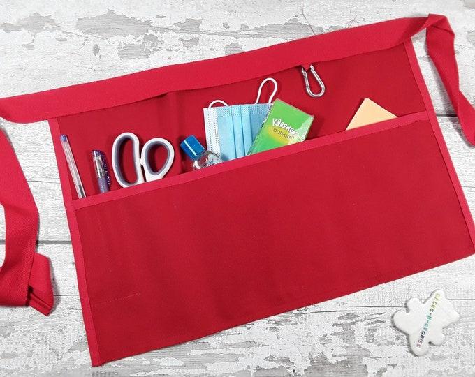 Plain Red Apron, 5 or 3 pockets suitable for Sanitiser Tissues Wipes, Market apron, Teacher apron, Pocket apron, RWI apron, Waist apron