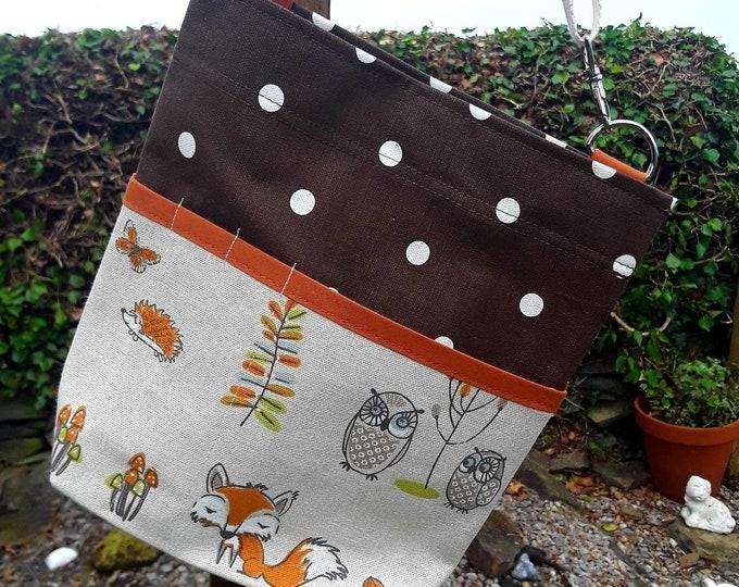 Teacher Bag WOODLAND FOX 100% cotton polka dot fabric 3 or 6 pockets Crossbody Bag  PPE sanitiser mask classroom supplies Teacher gift