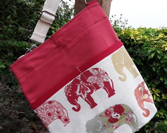 Teacher Bag ELEPHANTS Spice choice of polka dot fabric 3 or 6 pockets Crossbody Bag for PPE sanitiser mask classroom supplies Teacher gift