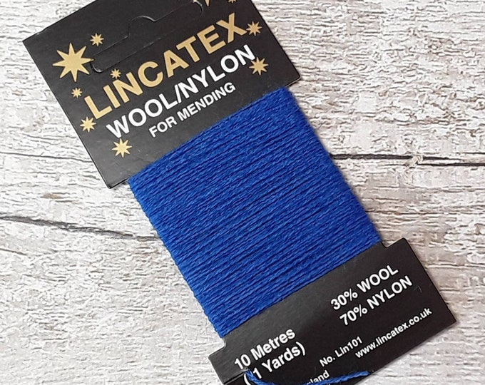 Darning Mending wool in Royal blue 10 metres Eco