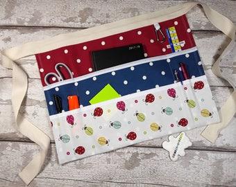 "Custom Create your own Teacher Apron LADYBIRD 9 pockets fits 10"" tablet Utility Belt Vendor Apron"