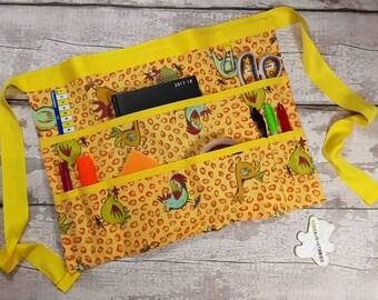 "Apron for Teacher Half Waist 9 pockets Funky Chicken Yellow Trim Fits 10"" Tablet Vendor Apron Teacher Utility Belt"