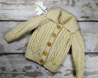 Hand knit 6-12 months Years Aran Jumper Cardigan Jacket with collar and wood buttons Natural colour Traditional Cable Knitwear Unisex