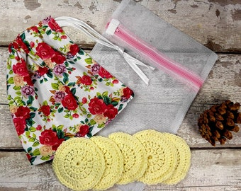 5 Reusable Cotton Crochet face pads storage bag & wash bag, Eco-friendly, Makeup removal, Scrubbies, Facial cleansing wipes, Gift M