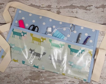 Oilcloth apron, PVC apron, Teacher Apron, FOXES Fox, Light blue polka dot, 3 pockets, Waist apron, Outdoor apron, Gardening Apron, Gift