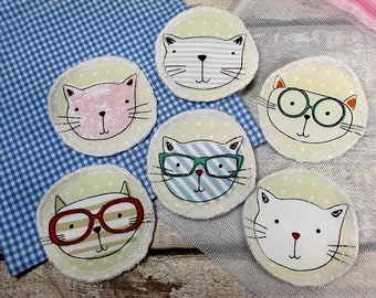 6 Cat face reusable face pads storage & wash bag Eco-friendly Makeup Removal Scrubbies Facial cleansing wipes, Zero waste, Ethical gift B