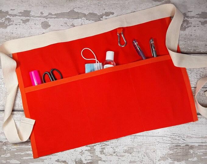 Plain Bright Orange waist Apron, 3 pockets for Sanitiser Tissues Wipes, Vendor apron, Teacher apron, Pocket apron, Waist  apron, RWI apron