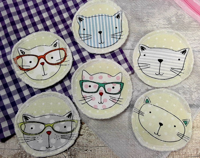 6 Cat face reusable face pads storage & wash bag Eco-friendly Makeup Removal Scrubbies Facial cleansing wipes, Zero waste, Ethical gift D