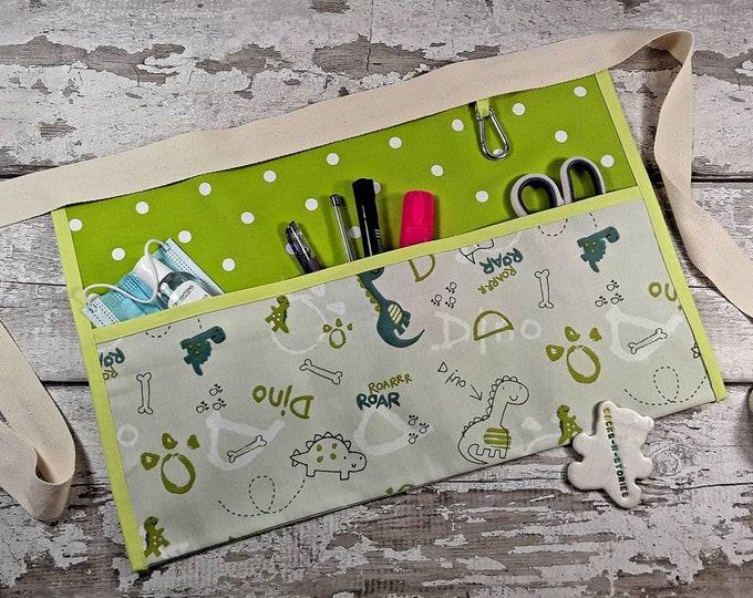 Teacher Apron, 3 Pockets DINOSAURS 100% cotton Teacher Christmas Gift, RWI Apron, Pocket Apron Utility Belt Half Waist Classroom apron