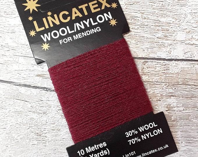 Red Darning Mending wool in Claret 10 metres Eco Dark red