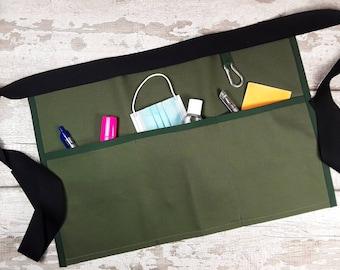 Plain Moss Green, Teacher Apron with 3 pockets suitable for Sanitiser Tissues Wipes Vendor apron, Pocket apron, Waist apron, RWI apron